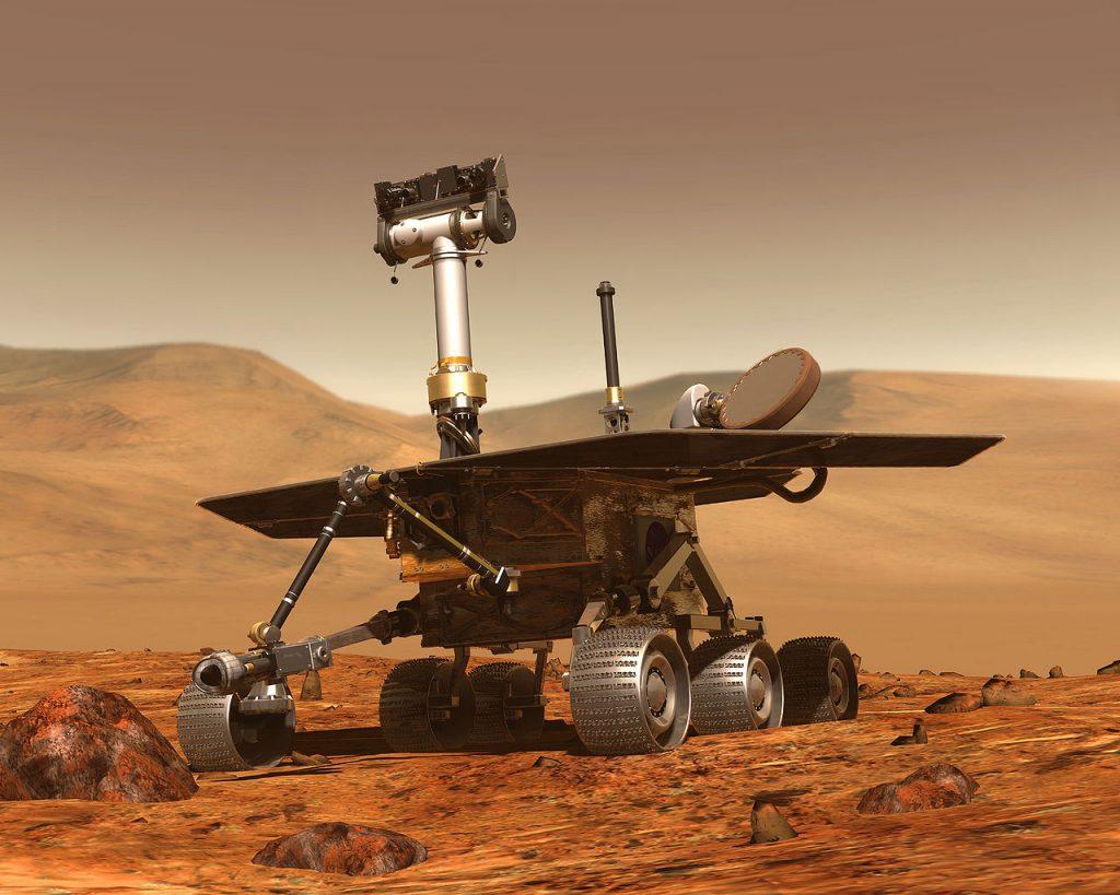 représentation d'artiste d'un robot ROVER sur Mars (wikipedia)