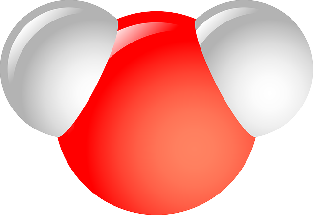 Représentation d'une molécule d'eau : deux atomes d'hydrogène, un atome d'oxygène